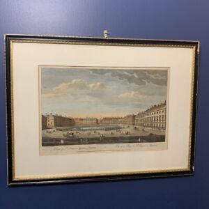 Rare Original Colour Etching View St James Square London c 1754 Bowles & Carver