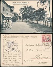 GERMAN EAST AFRICA 1907 PPC TANGA STREET...YACHT 7 1/2h...to NIMES