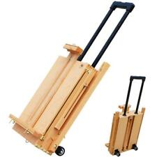 Folding Crafts Tripod Easel Wooden Sketch Box Art Artist Painting with Wheels
