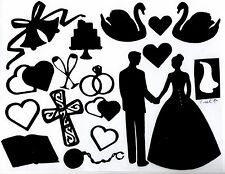 Cricut 18 Pc. Wedding Die Cuts  - Silouettes with white veil- any color