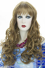 Long Blonde Brunette Red Wavy Skin Top Wigs Curls Fall Past The Chest Soft Bangs