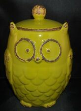 Owl Canister Jar Green - Rustic Aged Kitchen Home Decor