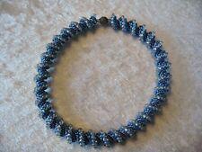 SALE  Blue & Silver Spiral Peyote Stitch Necklace Beadwork Seed Bead Cellini