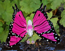 PINK FLORESCENT BUTTERFLY WINGS MOVE LAWN YARD ART Garden STAKE Ornament Decor