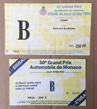 1992  and 1995 Ticket Monaco  Grand Prix Formula 1