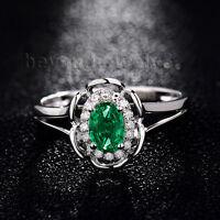 Real 18K  White Gold Natural Diamond Emerald Engagement Wedding Gemstone Ring