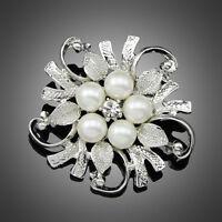New Popular Rhinestone Crystal Wedding Bridal Bouquet Flower Pearl Brooch Pin