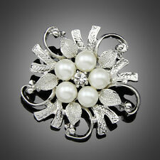 New Popular Rhinestone Crystal Wedding Bridal Bouquet Flower Pearl Brooch Pin