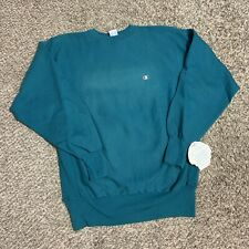 Vintage 90s Champion Teal Green Blue Reverse Weave Embroidered Sweatshirt Sz 2XL
