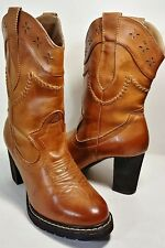 ROPER Brown Leather Mid-Calf Hi-Heel Rubber Soles Cowboy Boots Women's Size 8.5B
