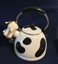 Vintage M Kamenstein Cow Teapot Enamel Whistling Tea Kettle