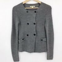 Banana Republic Womens Double Breasted Cardigan Sweater Merino Wool Blend Gray S