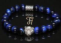 Tigerauge blau - silberfarbener Tigerkopf - Armband Bracelet Perlenarmband 8mm
