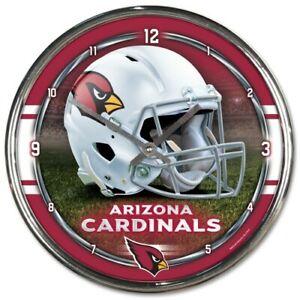 NFL ARIZONA CARDINALS CLOCK CHROME NEW
