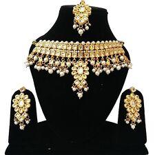 Indian Kundan Jewelry Gold Tone Traditional Latest Necklace Earrings Tikka Set 2