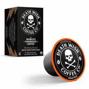 Death Wish Coffee - Medium Roast Worlds Strongest Coffee Organic K-cups 10 Count