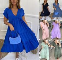 Women's Ladies V Neck Frill Layered Summer Fashion Smock Swing Long Maxi Dress