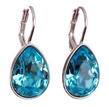 Swarovski Elements Crystal Aquamarine Teardrop Earrings Rhodium Authentic 7255z