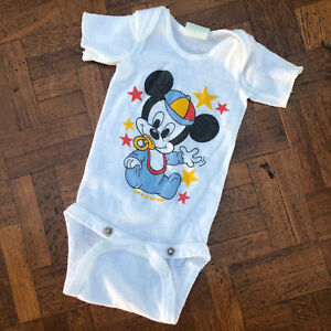Vintage Dundee Onesies Bodysuit Baby Mickey Mouse Walt Disney Small up to 20 lbs