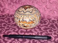 """Vintage Peruvian Folk Art Hand Carved Story Telling Gourd – 4"""" Museum Quality"""
