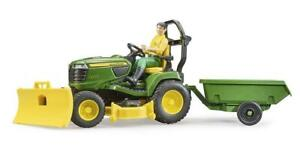 Bruder John Deere X949 Ride On Tractor Lawnmower With Trailer And Man