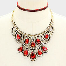 Gold and Red Crystal FASHION Statement Necklace Set