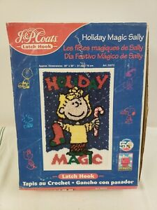 Vintage New In Box Latch Hook Wall Hanging Peanuts Sally Holiday Magic