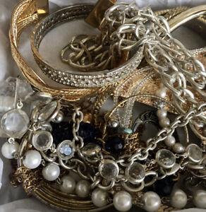 UnTested WEARABLE VInTAGE Mod Estate 1-2+ LB Lot Bundle Jewelry Gold Silver Tone