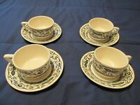"Royal USA Blue & White China Blue Onion ""Doorn"" Cups & Saucers 4 Sets 8 Pieces"
