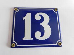 Old French Blue Enamel Porcelain Metal House Door Number Street Sign / Plate #13