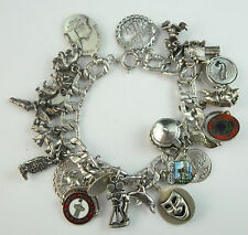 Vintage STERLING Silver CALIFORNIA Disney-Knotts-Mission 71.6g 20 CHARM BRACELET