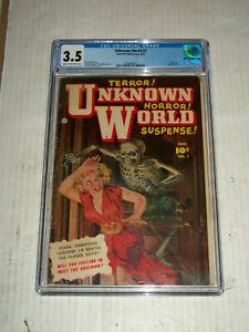 "Fawcett UNKNOWN WORLD #1 CGC 3.5 Painted Cover Sheldon ""Shelly"" Moldoff Art"