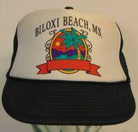 Vintage 1980s 1990s Biloxi Beach Mississippi Graphic SNAPBACK TRUCKER HAT CAP