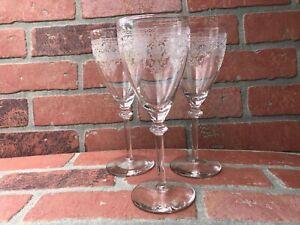 """Fostoria Etched """"Flower Basket"""" Depression Water Glasses Set Of 3"""