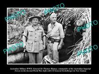OLD LARGE HISTORIC PHOTO AUSTRALIAN MILITARY WWII GEN THOMAS BLAMEY IN PNG c1945