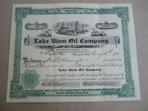 Old 1902 - LAKE VIEW OIL COMPANY - Stock Certificate - Bakersfield CALIFORNIA