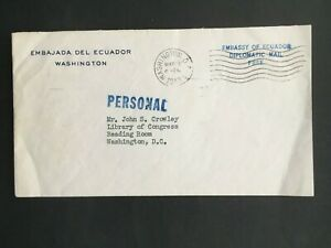 ECUADOR 1943  USA EMBASSY FRANKED FREE DIPLOMATIC MAIL COVER POSTED