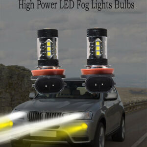 2PC H8 H11 H9 High Power Yellow Projector LED Bulbs Fog Driving Lights DRL