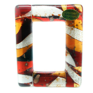 Murano Glass Photo Frame Red Orange White From Venice Unique 11cm x 8.5cm