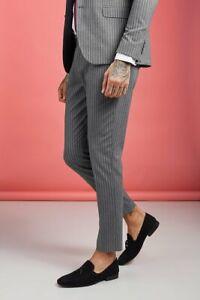BoohooMAN Wide Stripe Smart Trouser Grey Size 32 VR223 08