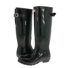 8af5b7946b10 Hunter Black Original Tall Gloss Back Adjustable Rain BOOTS US 6