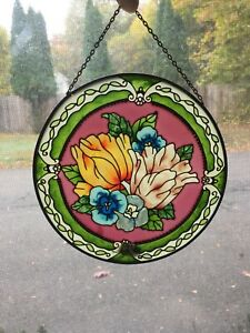 Joan Baker Handpainted Stained Glass Chantilly  Suncatcher 6.5 inches