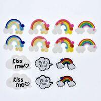 Fashion 14pcs Rainbow Clouds Shoe Charms For Clog Bracelets Kids Gift Giveaways