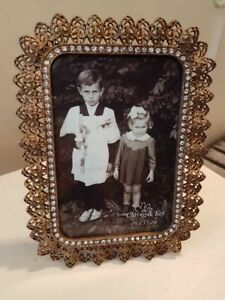 Clayre & Eef Picture Frame Baroque Gold Rhinestones For Stand 19,5cm x 14,5cm
