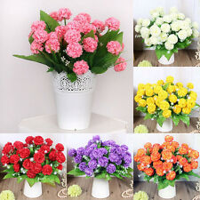 8Pcs Fake Artificial Hydrangea Bunch Colorful Flowers Bouquet Home Wedding Decor