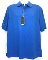 Greg Norman Mens Play Dry Polo Shirt Blue Short Sleeve Performance Golf L New
