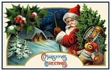 Christmas Scene # 849 Santa Claus Toys Church Counted Cross Stitch Pattern