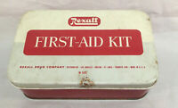 Vintage Rexall First Aid Kit W505 Tin With Some Contents  6 1/16x 3 14/16x 1 3/4
