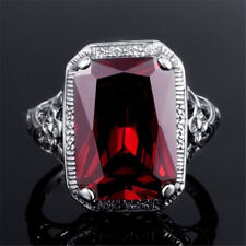 Vintage Red Rhinestone Wedding Engagement Bridal Finger Ring Jewelry Gift Cheap