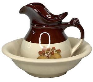 Vintage McCoy Pottery Set 7515 Pitcher & Bowl Wash Basin Pears Walnuts Chestnuts